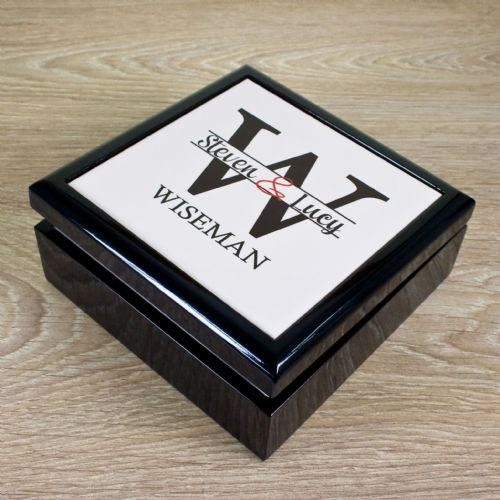 Personalised Couple Monogram Couple Keepsake Box